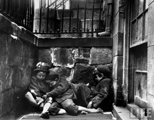 Children sleeping in Mulberry Street (1890) by Jacob Riis
