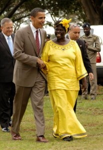Wangari Maathai with Obama in Nairobi, Kenya, 2006.