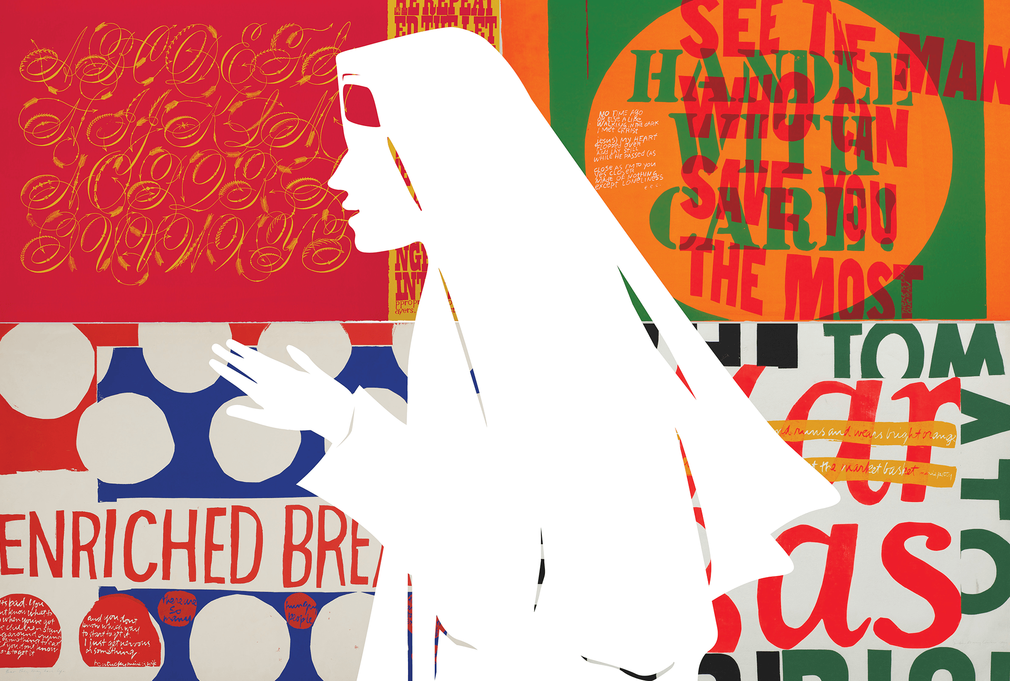 A collage of Corita Kent's artwork with a silhouette depiction of her in her nun's habit.