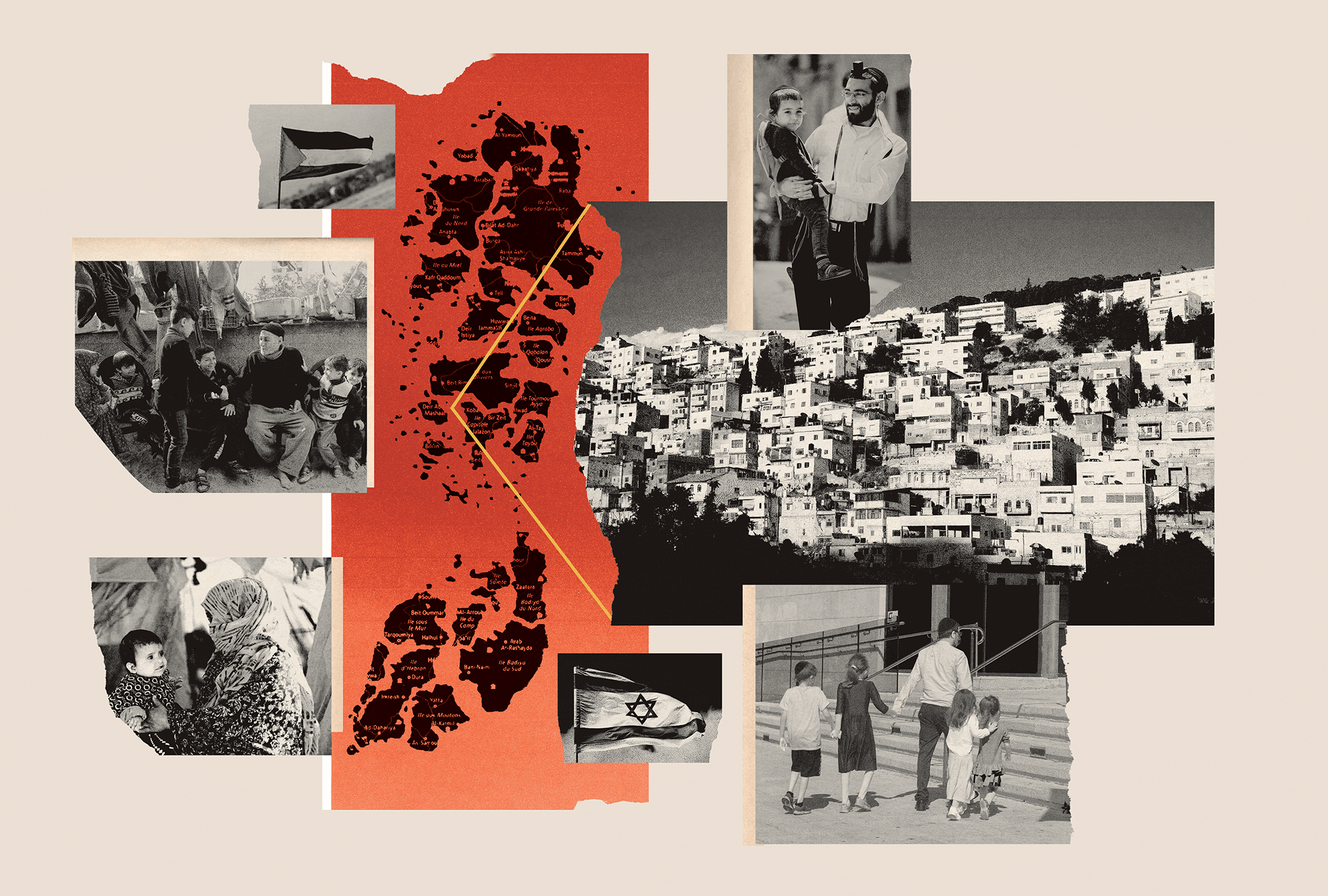 A collage of black and white photos of Palestine and Israel, featuring buildings, families, children, and flags of both places.