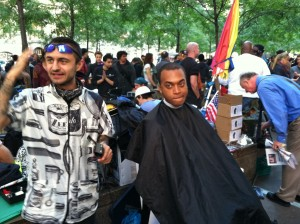 Free haircuts at the #OccupyWallStreet protests in NYC last week.