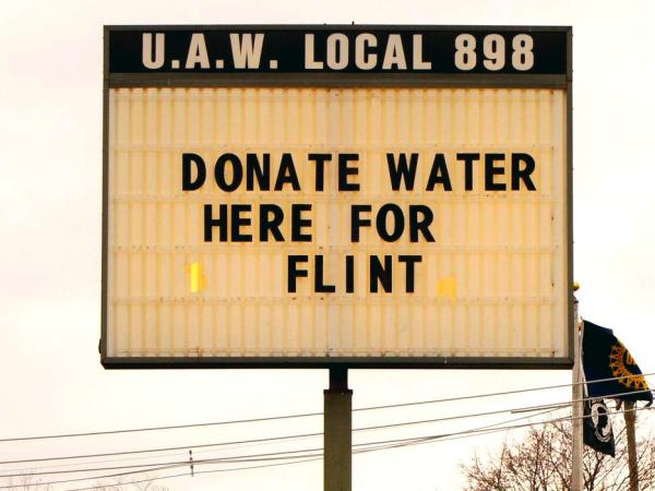 Sign at UAW local asking for donations for Flint, Jan. 27