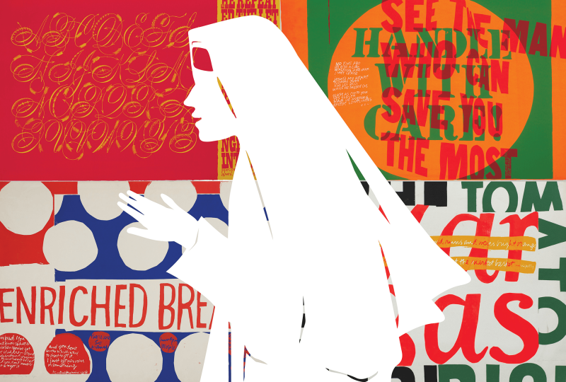 A collage of Corita Kent's artwork with an silhouette depiction of her in her nun's habit.
