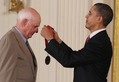Obama awards Wendell E. Berry the 2010 National Medal of Arts and Humanities. Ph