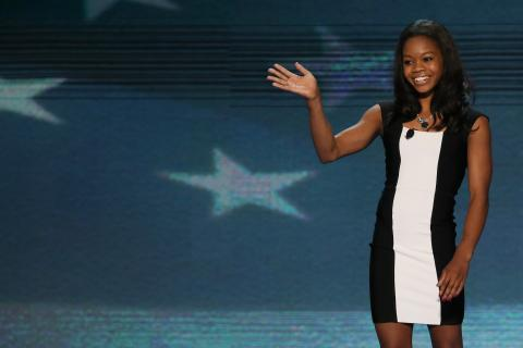 Gabby Douglas at the DNC in Charlotte, N.C. earlier this week.