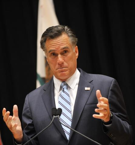 Romney speaks to the press in Costa Mesa, Calif., on Tuesday.