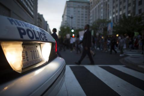 A police car at a solidarity for Baltimore protest in Washington, D.C. Image via