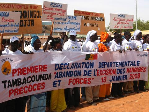 Demonstration against young marriage and female circumcision in Africa.