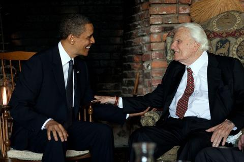 Presid Obama with Dr. Billy Graham at the preacher's home in Montreat, NC, 2010