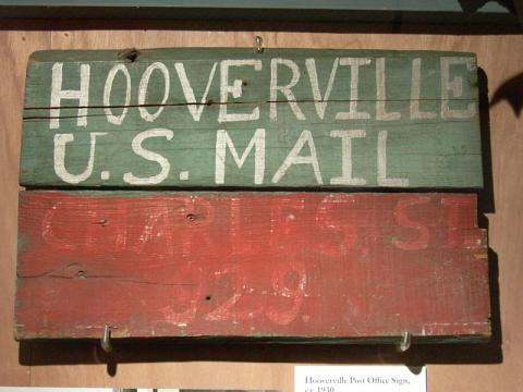 Sign from the post office at the Hooverville (squatters settlement) in Seattle,