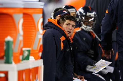 Tebow on the sidelines (Broncos v Patriots) 1/12/12. Getty Images.