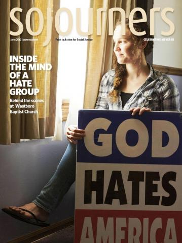 Sojourners June 2012 cover photo with Megan Phelps-Roper