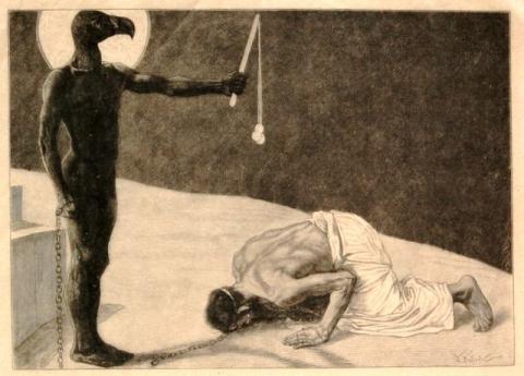 Der Mammon und sein Sklave. Holzstich.via Wiki Commons, http://bit.ly/zom5Df.