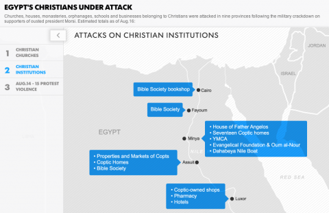 "Screenshot from USA Today's Interactive Map, ""Egypt's Christians Under Attack."""