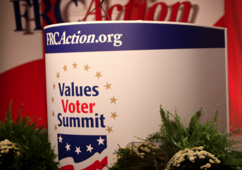Speaker's podium at the Values Voters Summit, where the Emergent Church will be