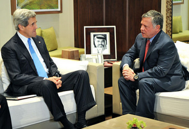 U.S. Secretary of State John Kerry with Jordanian King Abdullah II in Amman, Jor