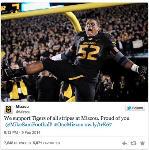 Mizzou tweets support for Michael Sam, via Twitter
