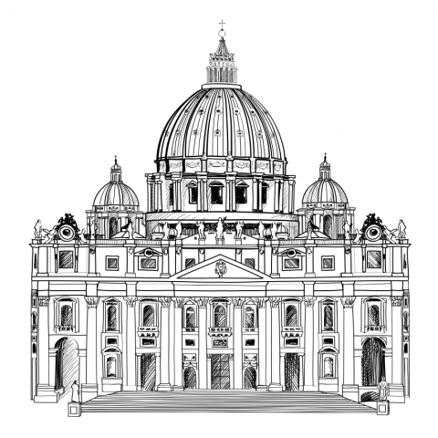 Drawing of St. Peter's Cathedral in Rome. Image courtesy Yoko Design/shutterstoc
