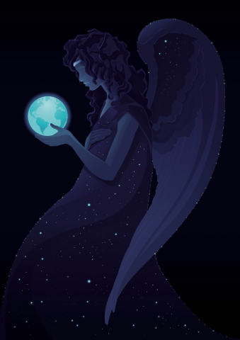 An angel holds the earth in silence. Image courtesy Danilo Sanino/shutterstock.c