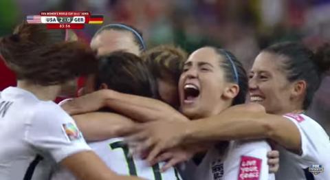 Screenshot of USA-GER goal celebration