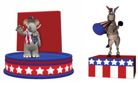 Republican and Democratic platform illustrations, Jeffrey Collingwood / Shutters