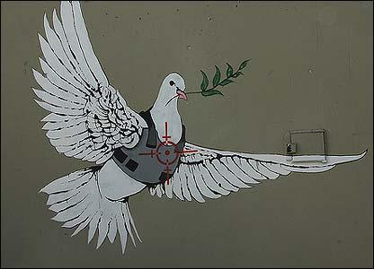 Artwork by the artist Banksy. Photo by Shane Claiborne.