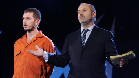Darren Morfitt as Jesus and Keith Allen as Pontius Pilot. Image via the BBC.