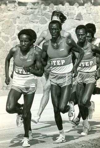 Suleiman Nyambui (center), who ran at UTEP between 1978-1982 and won the silver