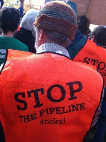 A demonstrator at Sunday's anti-Keystone XL pipeline rally in Washington, D.C. P