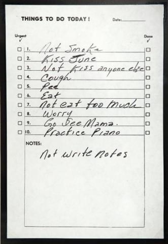 Johnny Cash's to-do list. Image via Open Culture.