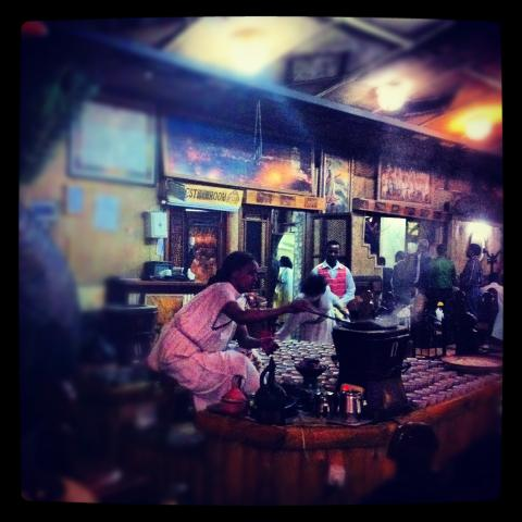 Coffee ceremony at a restaurant in Addis Ababa, Ethiopia.