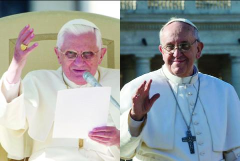 Pope Benedict photo by Gregory A. Shemitz,Pope Francis photo by Andrea Sabbadini