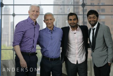 Anderson Cooper and Aziz Ansari with their look-a-likes