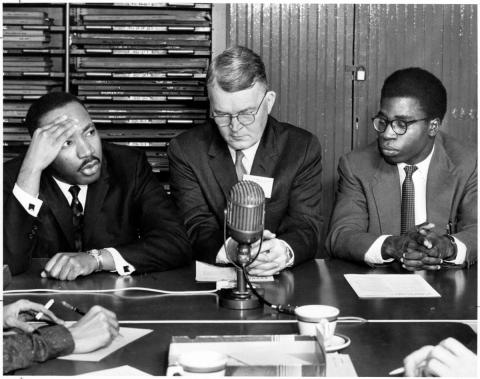 fdc2bbe401c7 Martin Luther King Jr. at a press conference for the 18th Ecumenical  Student Conference in Ohio. Bola Ige of Nigeria is on the right. Dec. 27,  1959.