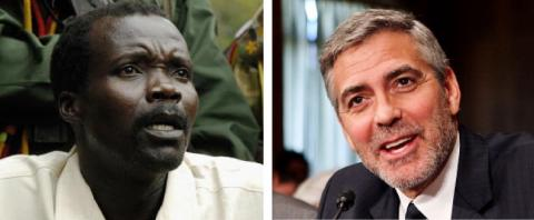 Photos of Joseph Kony (L) and George Clooney (R) via Getty Images.