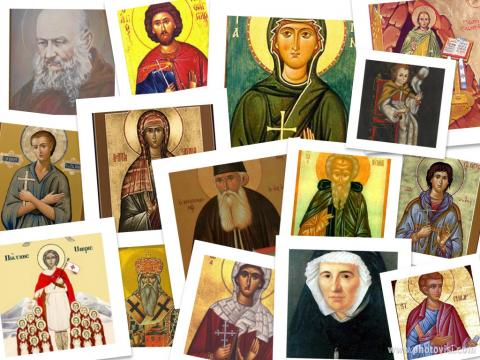 Assorted Christian saints images, Wiki Commons; illustration by Cathleen Falsani