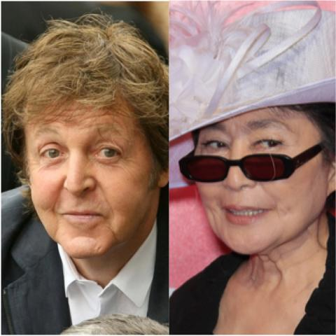 Sir Paul McCartney (L) and Yoko Ono (R).