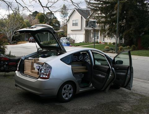 The Piatt Prius, overloaded. Photo by Christian Piatt.