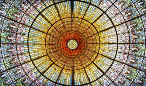 Palau de la Musica Catalana skylight of stained glass, Barcelona. Photo via RNS/