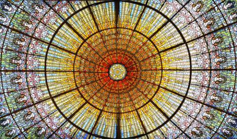 Palau de la Musica Catalana skylight of stained glass, Barcelona. Photo via RNS/