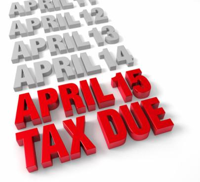 Taxes are due April 15. Courtesy Shutterstock