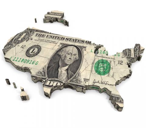The United States made from a $1 bill. Image via AuntSpray/shutterstock.com
