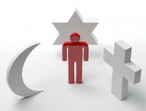 World religion symbols, nogoudfwete / Shutterstock.com