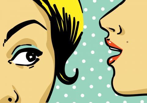 Hushed speaking illustration, lavitrei/ Shutterstock.com