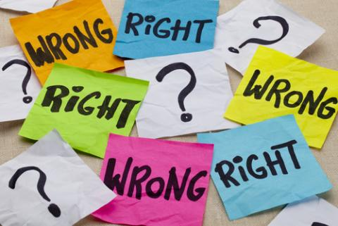 Right and Wrong image, marekuliasz /Shutterstock.com