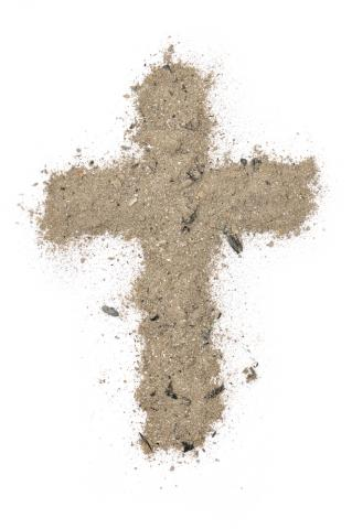 A cross made of ash. Image courtesy Ansis Klucis/shutterstock.com