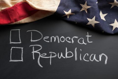 Democrat / Republican sign, eurobanks / Shutterstock.com