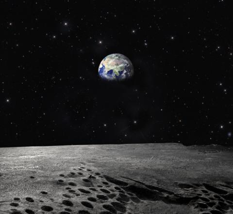 Artistic rendering of earth from the moon. Image courtesy Ollyy/shutterstock.com