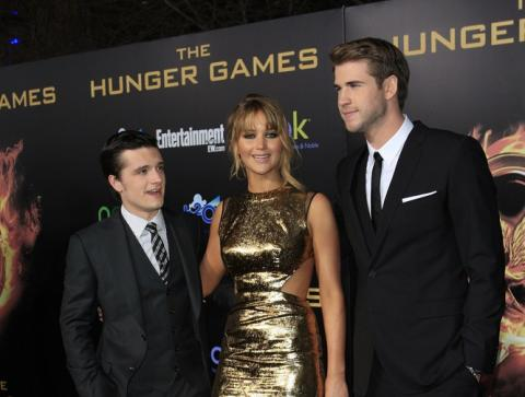 The three stars of The Hunger Games at its LA premeire. Joe Seer, Shutterstock.