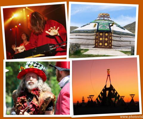 Theremin, Yurt, Holy Fool, Burning Man. Collage by Cathleen Falsani.